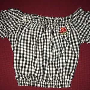 black and white plaid crop top with rose patch